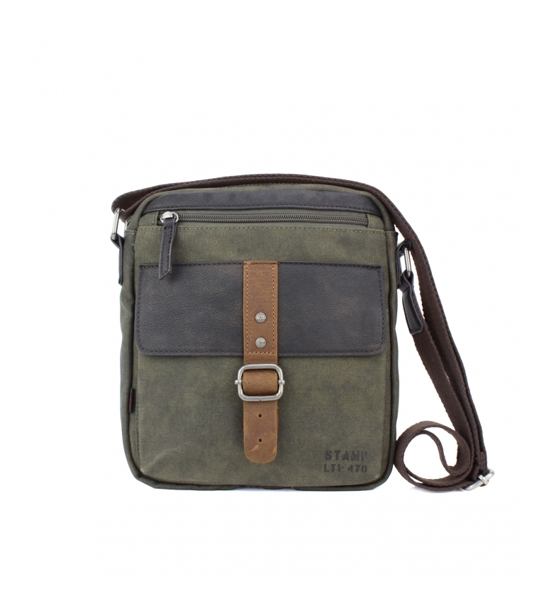 Comprar Stamp Leather shoulder bag BHST04722KA green khaki -25x21x5cm