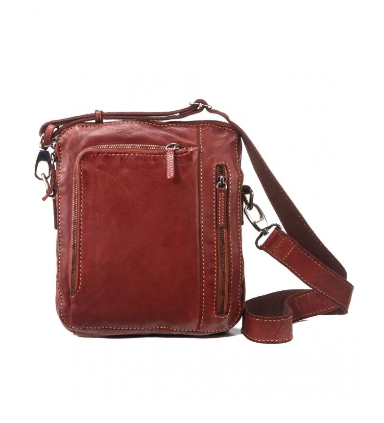 Stamp Leather shoulder bag BHST00120LB brown -25x20x5cm