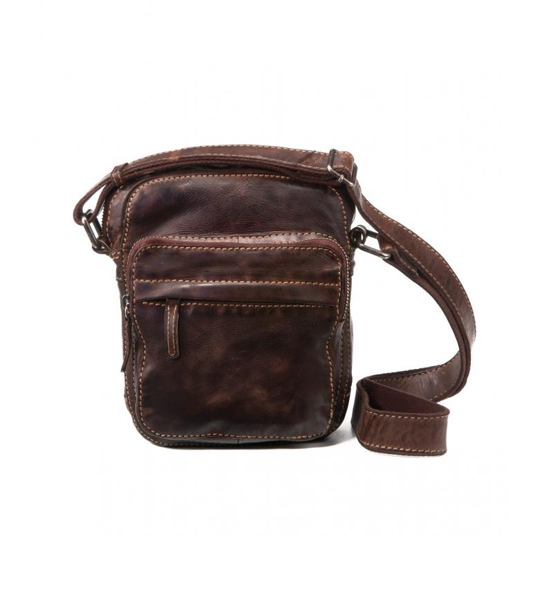 Comprar Stamp Bolsa de couro do ombro BHST00123MA castanho escuro -22x17x7cm