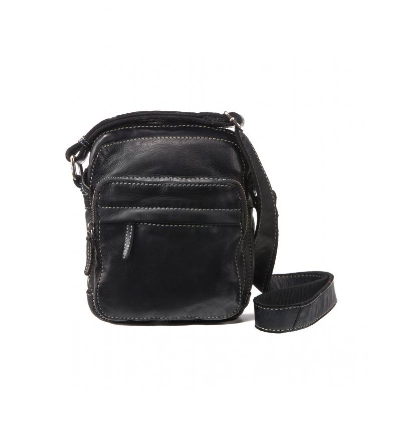 Stamp Leather shoulder bag BHST00123NE black -22x17x7cm