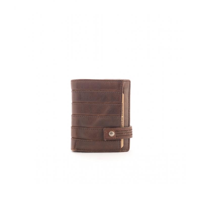 Comprar Stamp Carteira de couro MHST00298MA marrom escuro -11x9x2cm