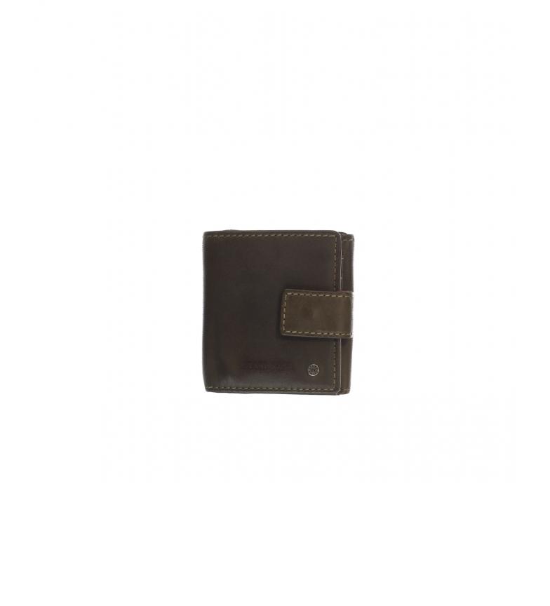 Stamp Carteira de couro MHST00049KA cáqui -7x10x2cm