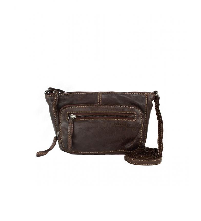 Comprar Stamp Leather handbag BMST05555MA dark brown -13x24x6CM