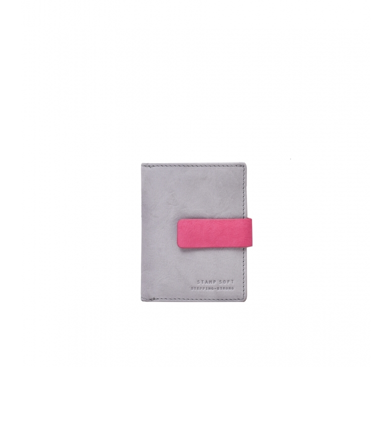 Stamp Carteira de couro MMST33312GR cinza -10x8x2cm