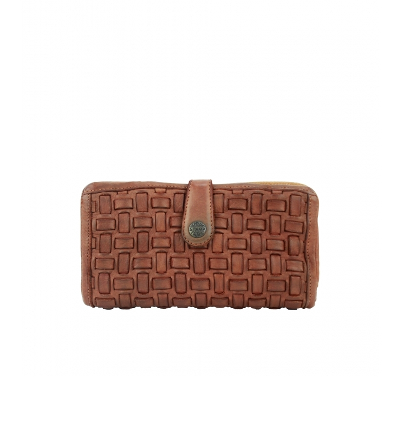Stamp Cartera de piel trenzada MMST42710CU marrón -10x18x2cm-