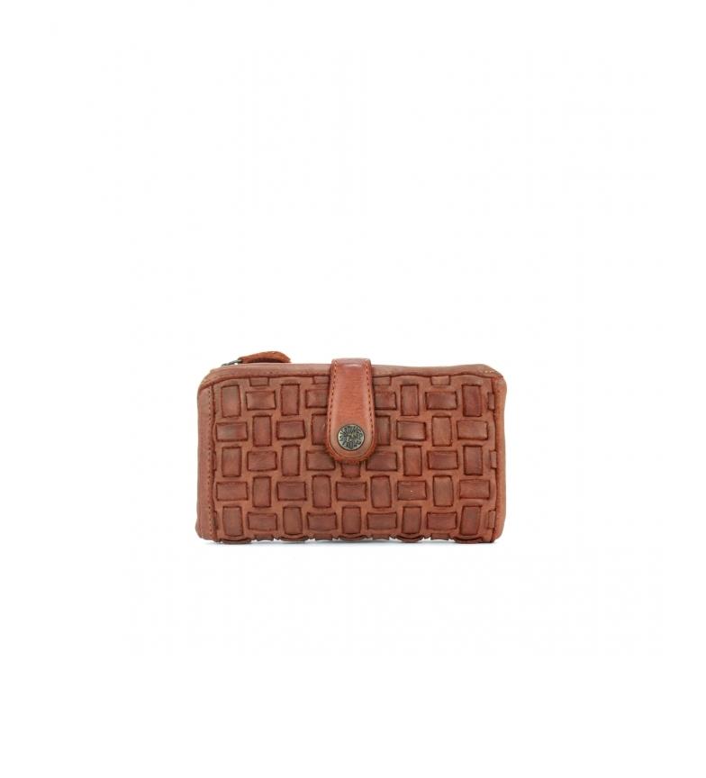 Stamp Portefeuille en cuir tressé MMST42711CU marron -8x15x2cm