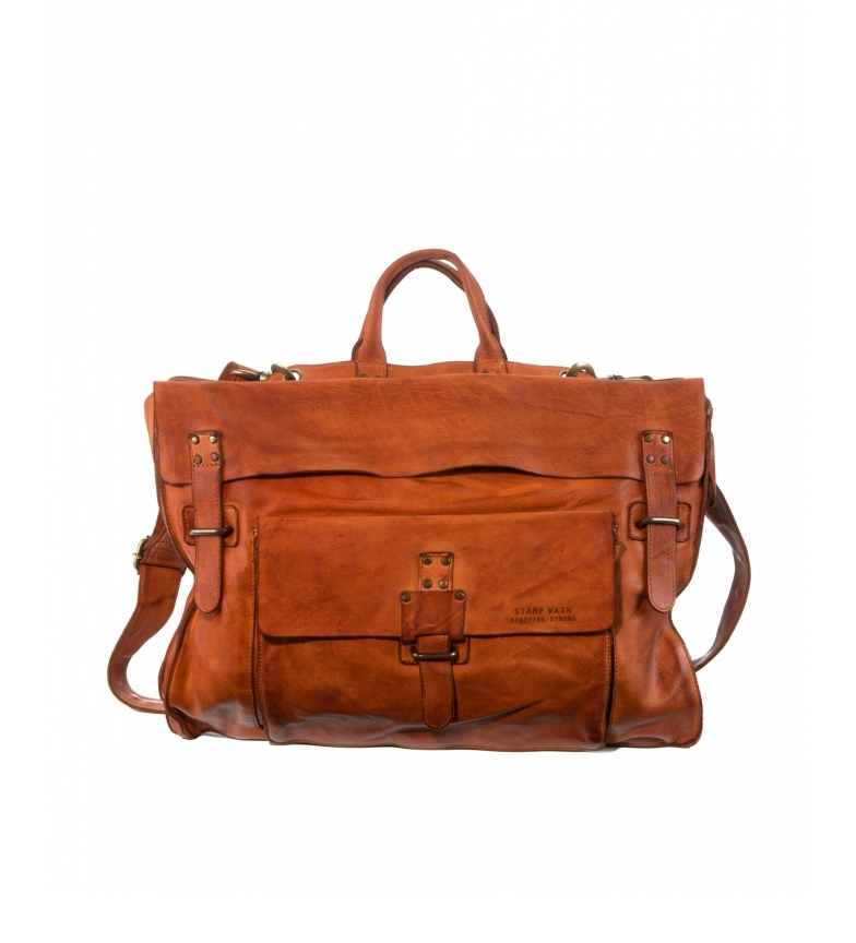 Stamp Leather briefcase convertible into a backpack BHST00101CU brown -30x42x10cm