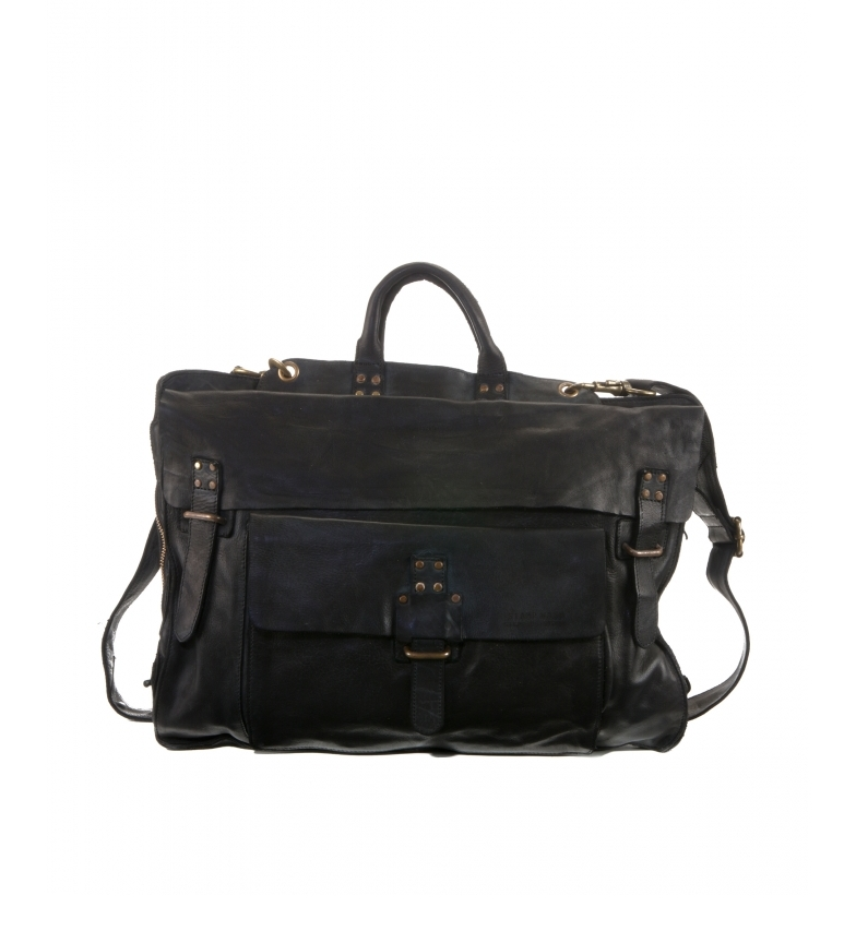 Comprar Stamp Leather briefcase convertible into a backpack BHST00101NE black -30x42x10cm-.