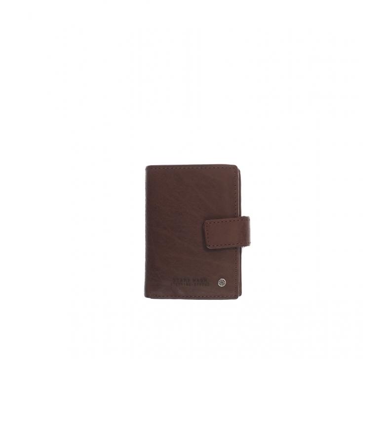 Stamp Leather card holder MHST00045MA dark brown -10x7x1cm
