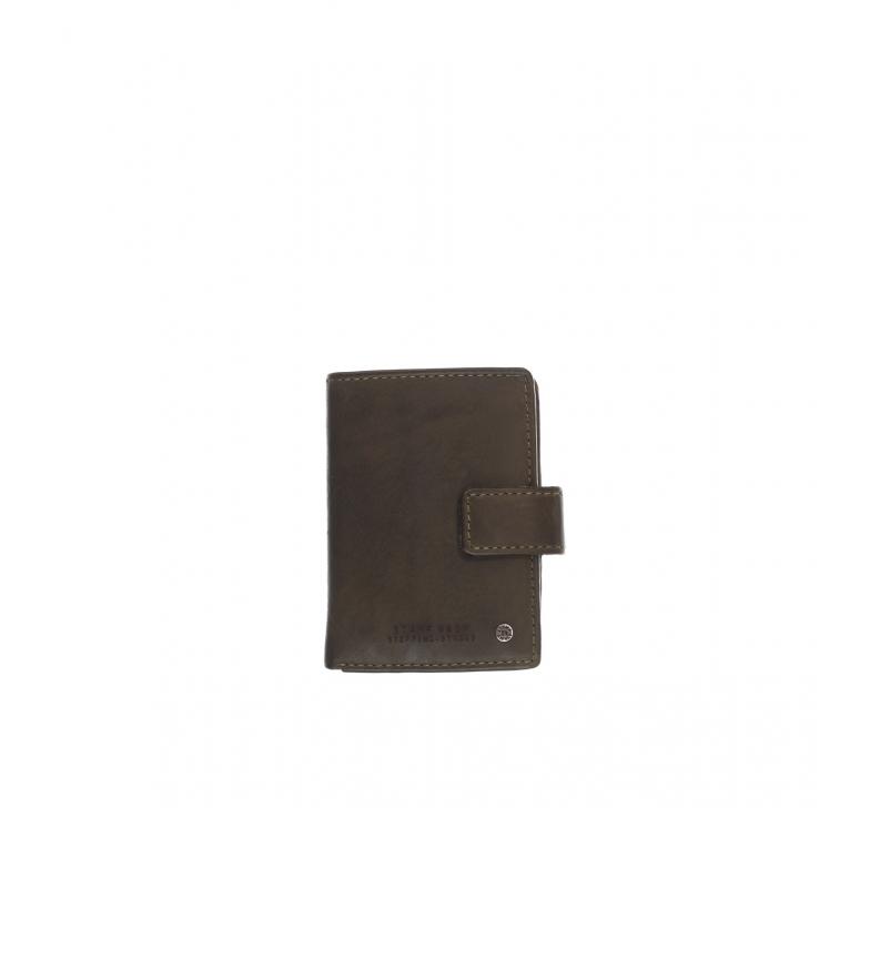 Comprar Stamp Porta-cartões em couro MHST00045KA cáqui -10x7x1cm