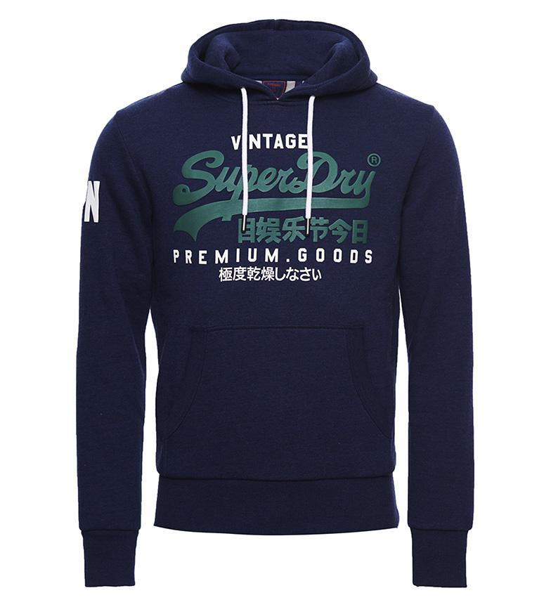 Superdry Felpa con cappuccio con logo vintage blu