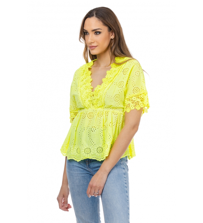 Comprar Tantra Blouse with embroidered flowers green