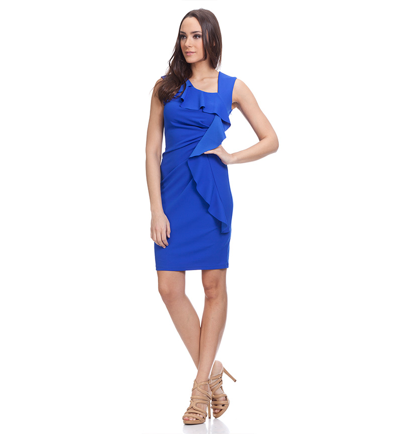 Azul Vestido Vestido Vestido Drapeado Tantra Tantra Tantra Azul Drapeado ARq543Lcj
