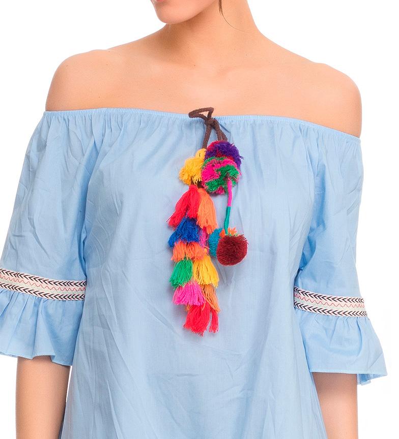 Tantra Vestido pompones azul