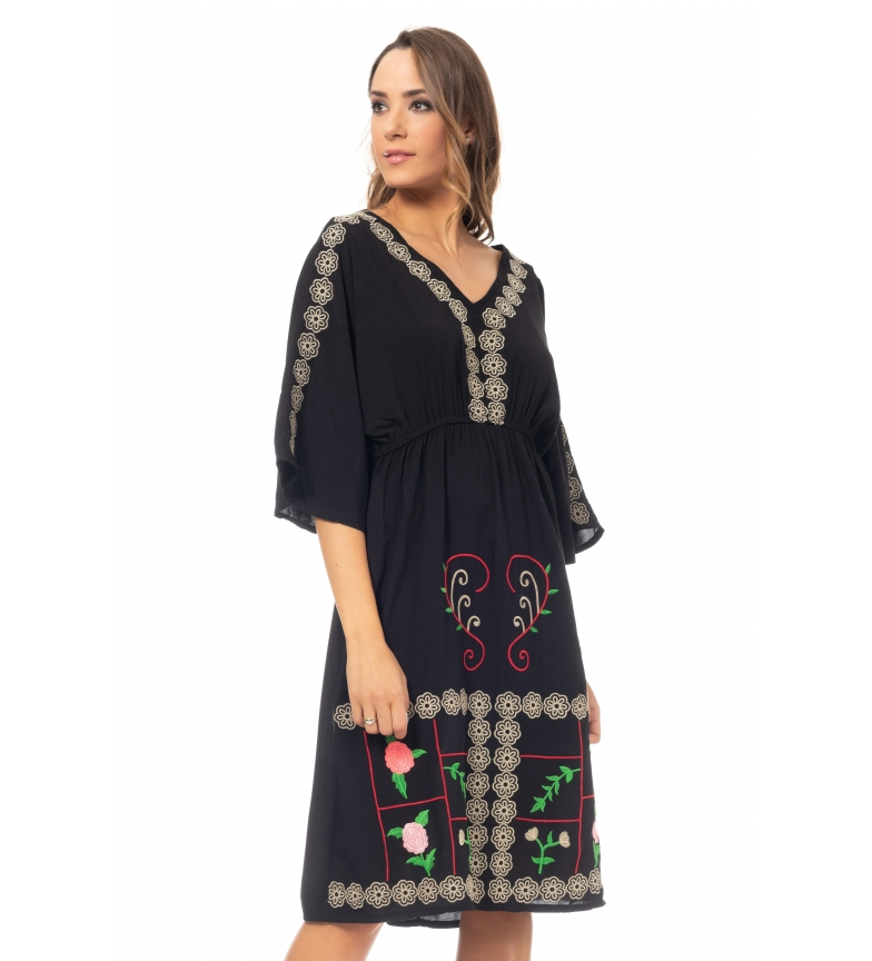 Comprar Tantra Midi dress with black embroidery