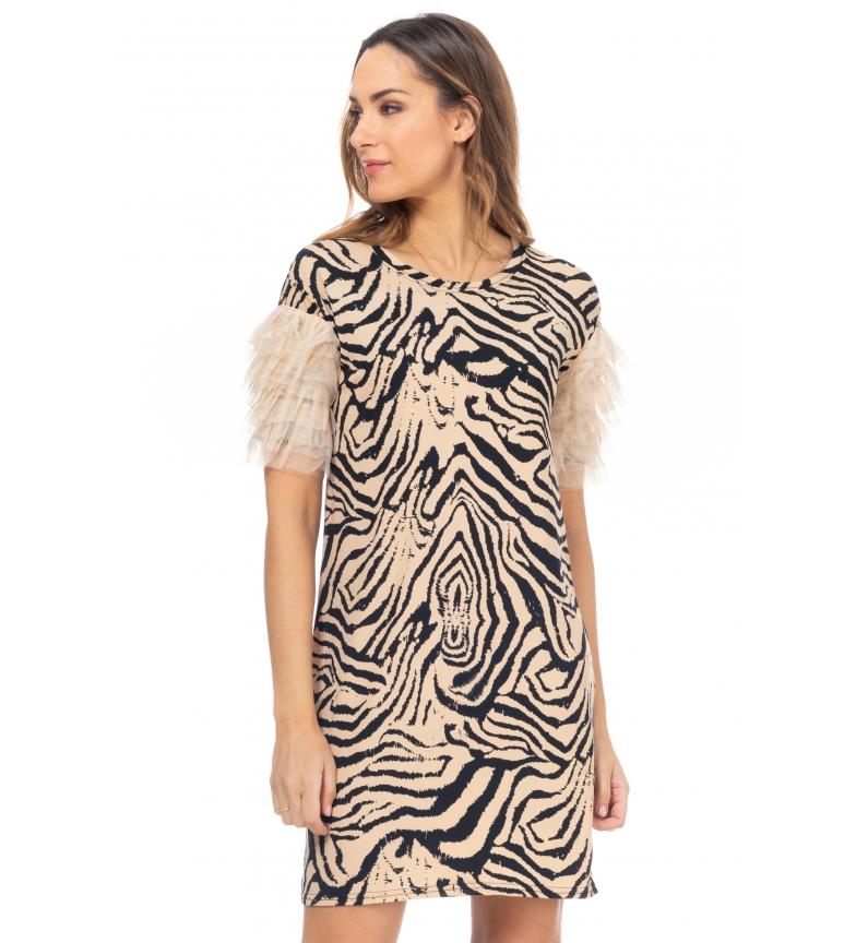 Comprar Tantra Beige leopard print tulle dress