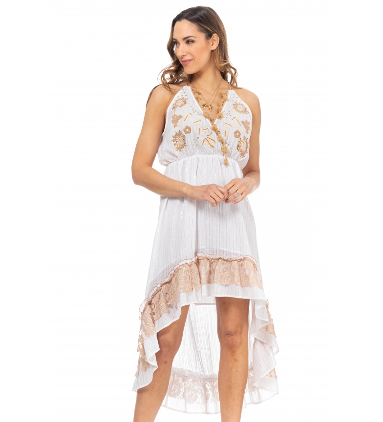 Comprar Tantra White embroidered tail dress