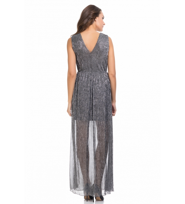 Tantra Vestido Largo Metalizado Plisado Plata fvgyYb6I7m