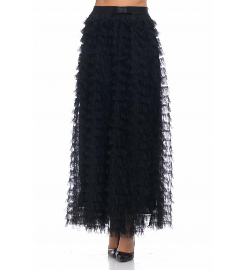 Comprar Tantra Saia longa flounces pretos do tule do preto da saia