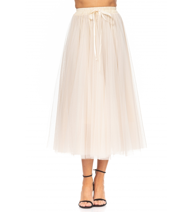Comprar Tantra Midi Skirt in Tulle with Beige Bow