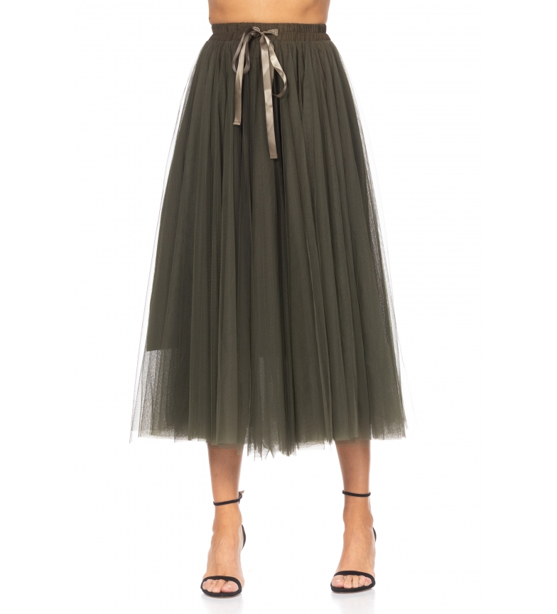 Comprar Tantra Midi Skirt in Tulle with Green Bow