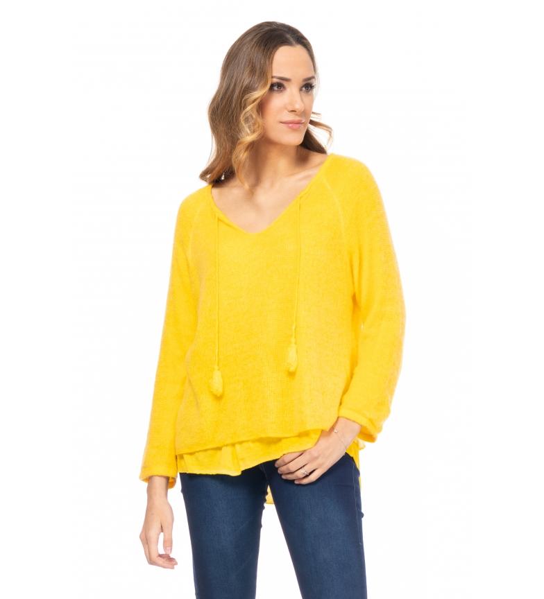 Comprar Tantra Maglione lavorato a maglia con maglietta gialla