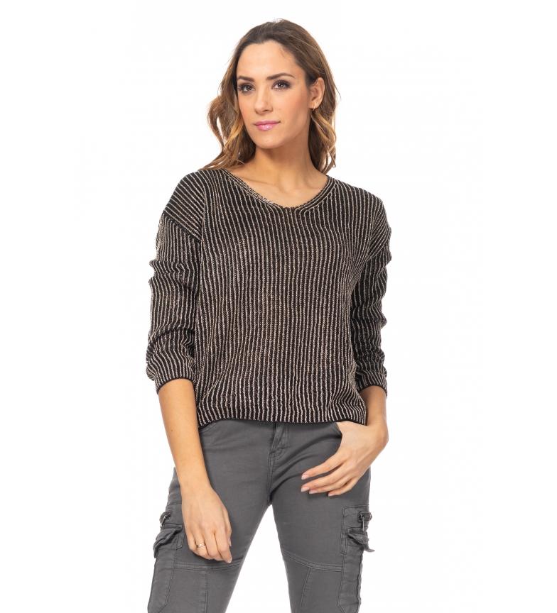 Comprar Tantra Maglione lavorato a maglia con strisce nere in lurex