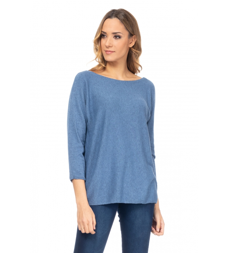 Comprar Tantra Blue pleated round neck sweater