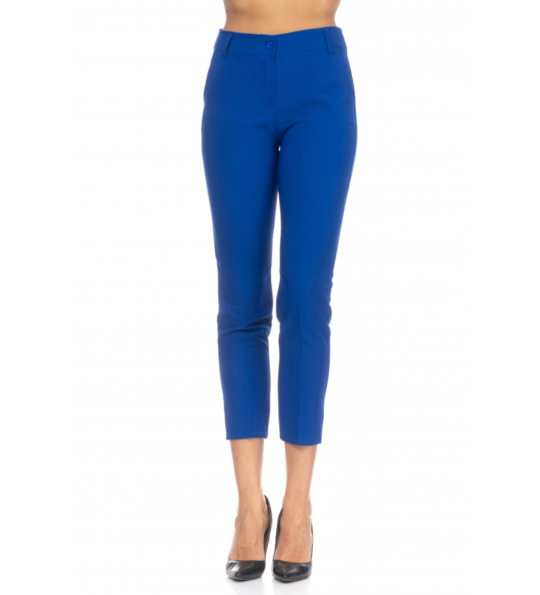 Comprar Tantra Pantaloni a vita alta con cintura blu