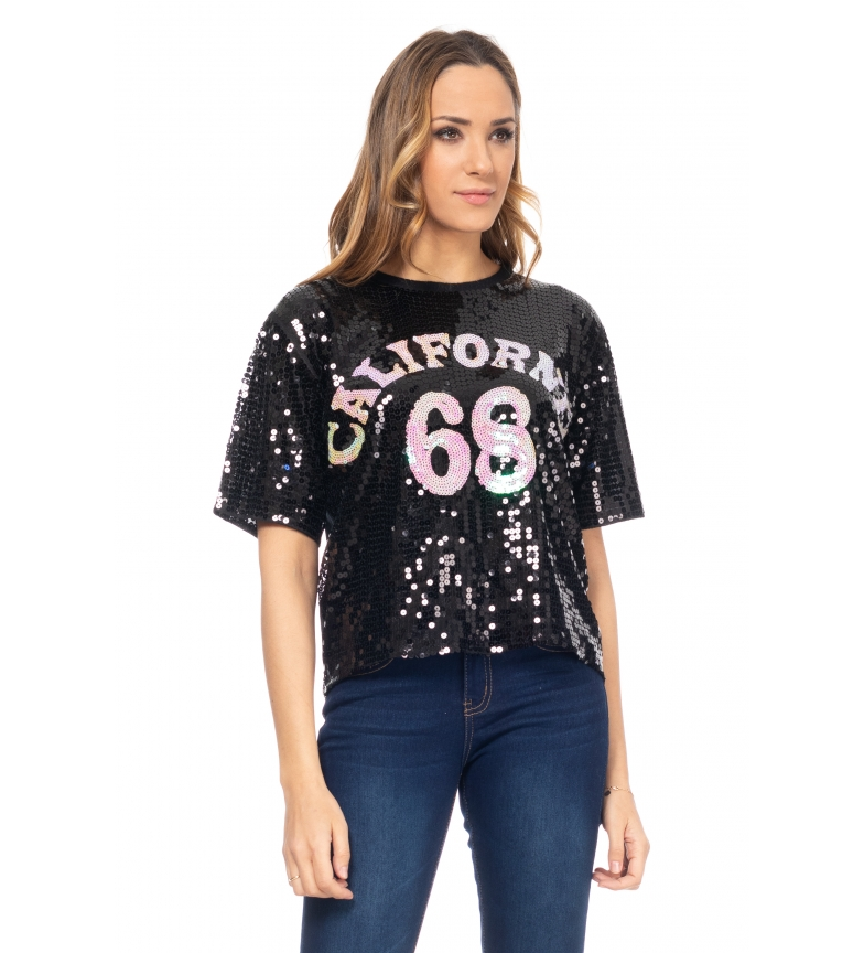 Comprar Tantra Top con paillettes California nero