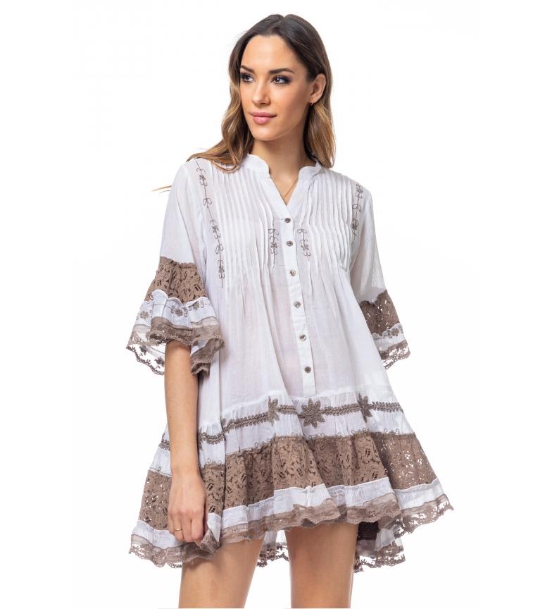 Comprar Tantra Vestido largo com bordado e renda castanha