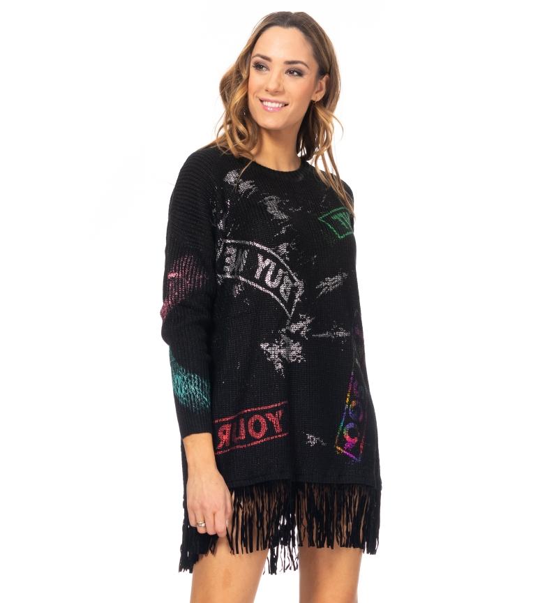 Comprar Tantra Abito in maglia con stampa e frange nere