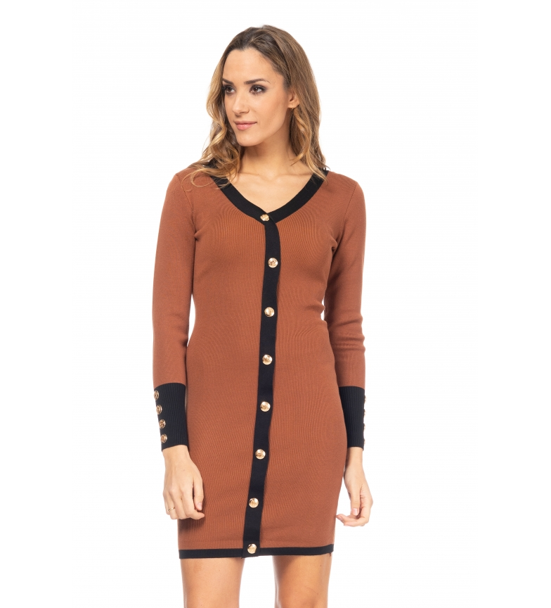 Comprar Tantra Abito in maglia con bordi marroni