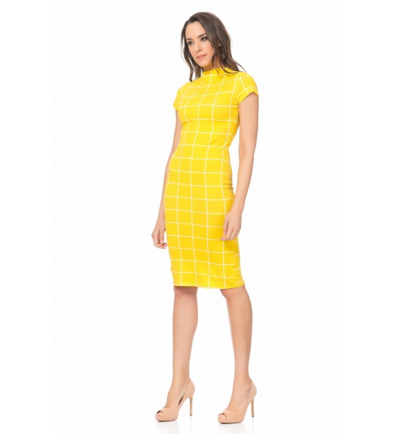 Amarillo Vestido Entallado De Tantra Cuadros QrodCxBeWE