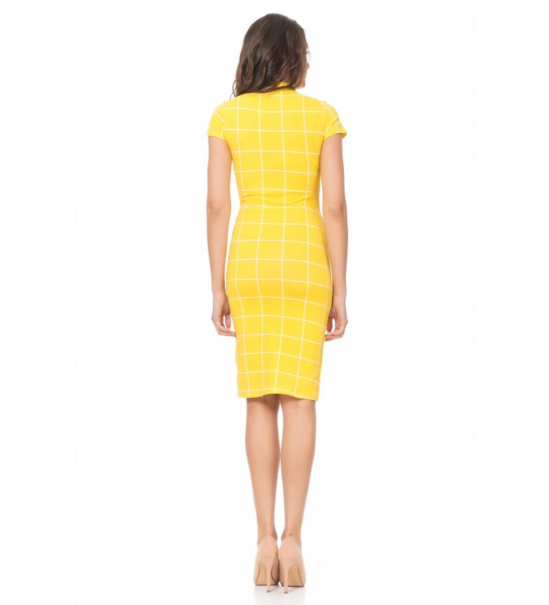 Amarillo Vestido Tantra Entallado Cuadros De rtsdCQhxB
