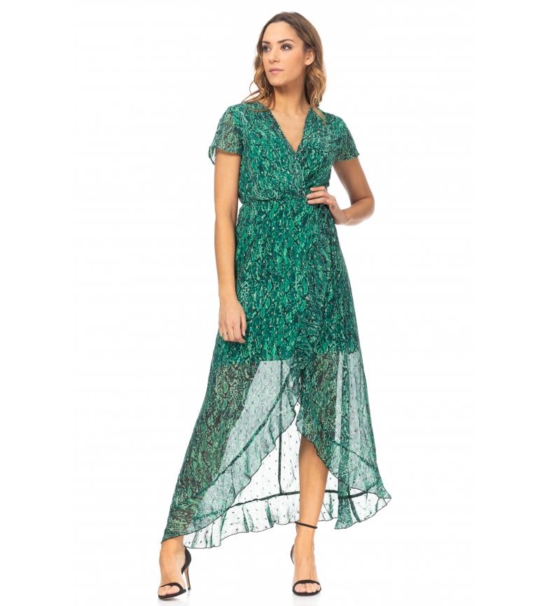 Comprar Tantra Vestito a portafoglio verde con stampa floreale