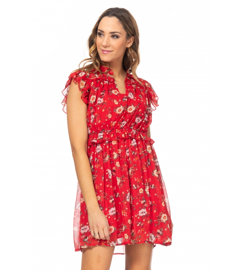 Comprar Tantra Flower print dress with red flounces