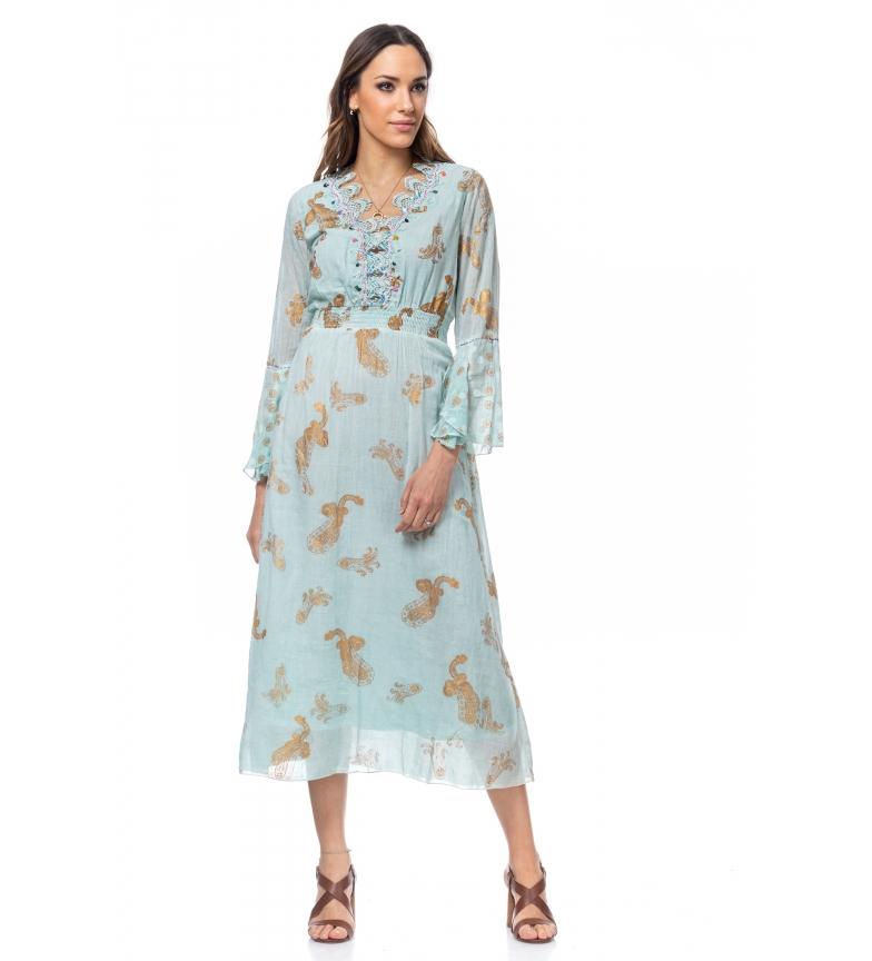 Comprar Tantra Robe longue aux imprimés dorés et broderies bleues