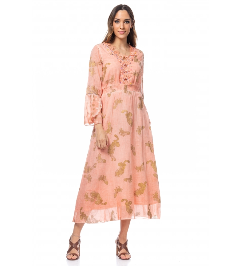 Comprar Tantra Long Dress with Golden Prints and Salmon Embroidery