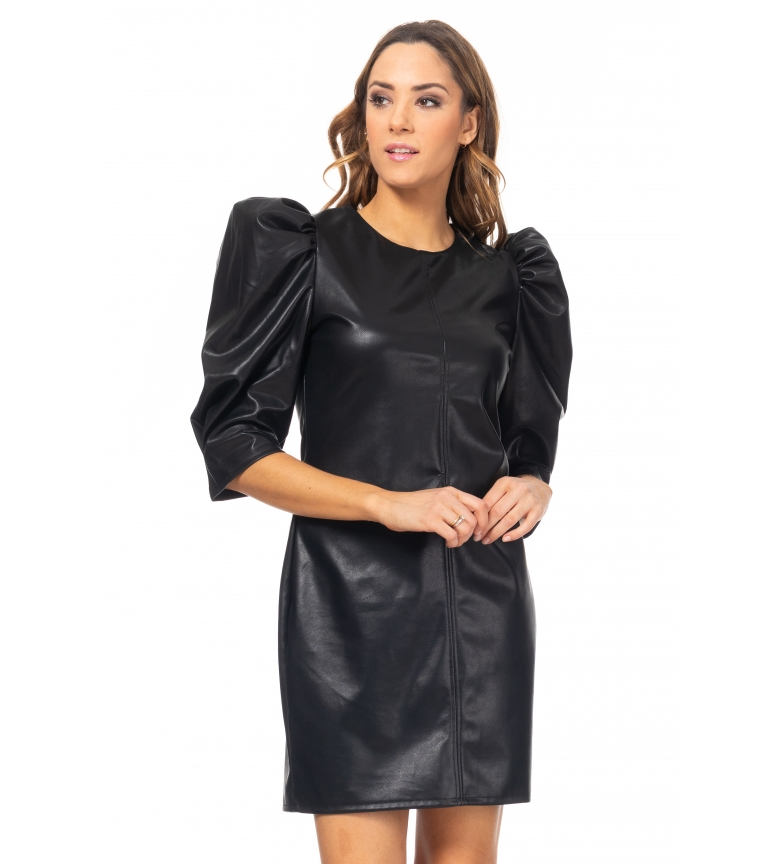 Comprar Tantra Patent leather dress with puffed sleeves black