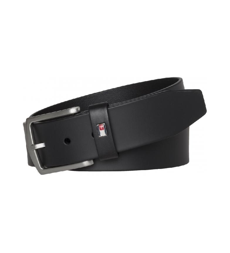 Tommy Hilfiger Cintura in pelle nera New Denton 4.0