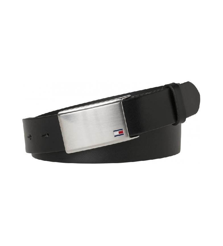 Tommy Hilfiger Cintura TH Plaque 3.5 ADJ in pelle nera