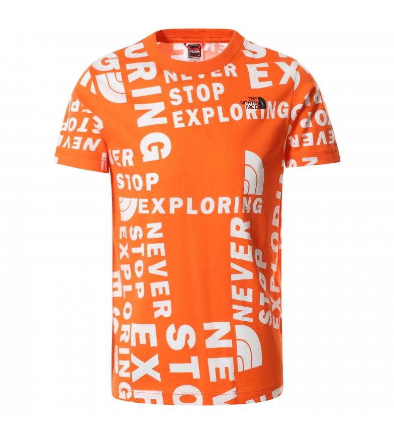 The North Face Camiseta cúpula simples laranja manga curta