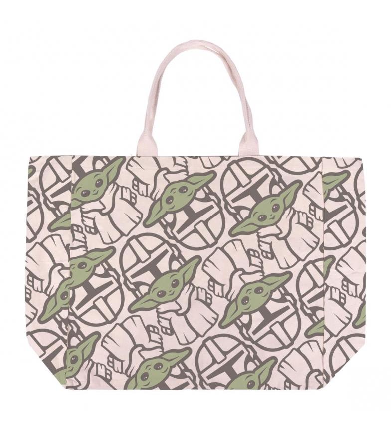 Cerdá Group Yoda Baby Cotton Handbag Handle Bag beige, green -48x44x17cm