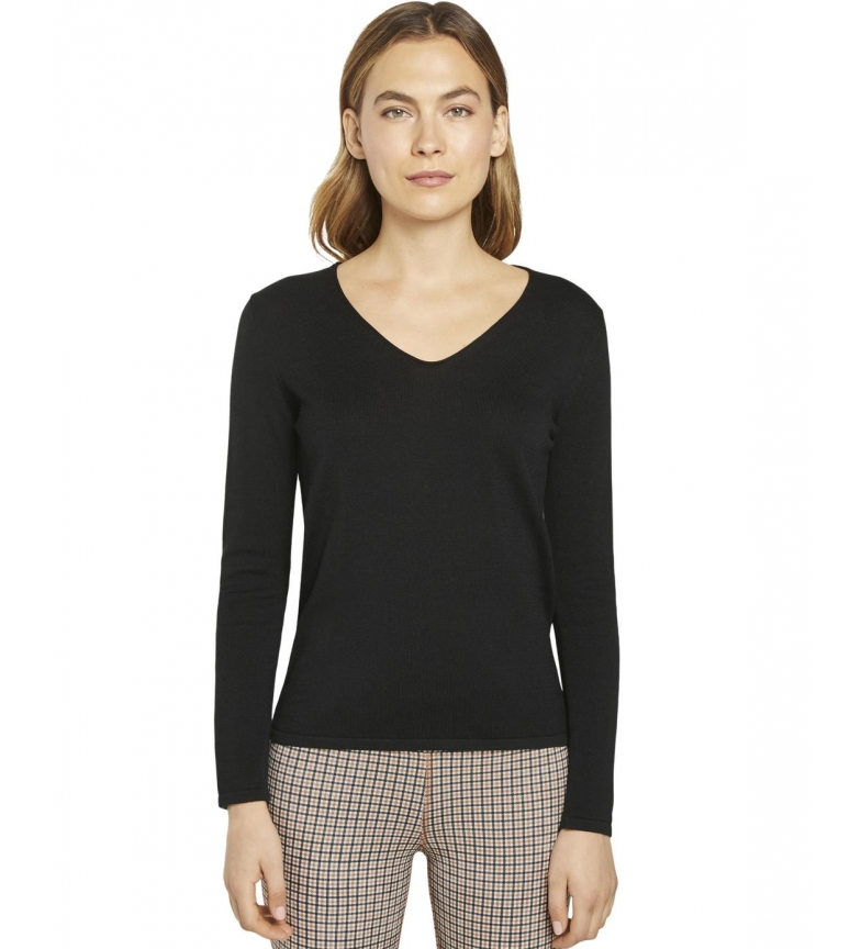 Comprar Tom Tailor Camisola de pescoço em V preta
