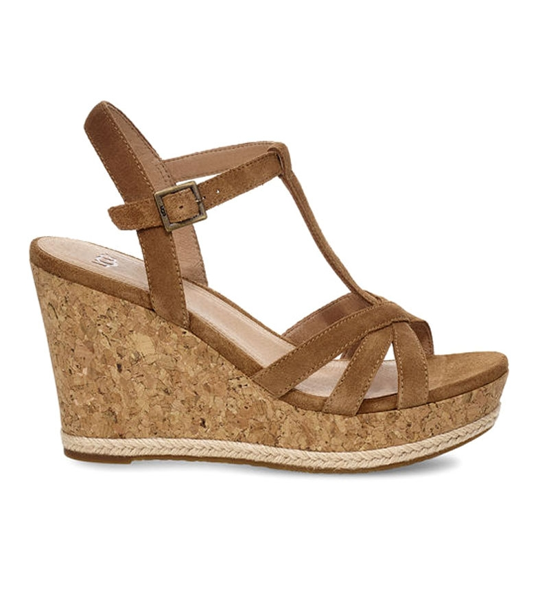 Comprar UGG Australia Sandales en cuir marron Melissa - Hauteur de cale : 10cm