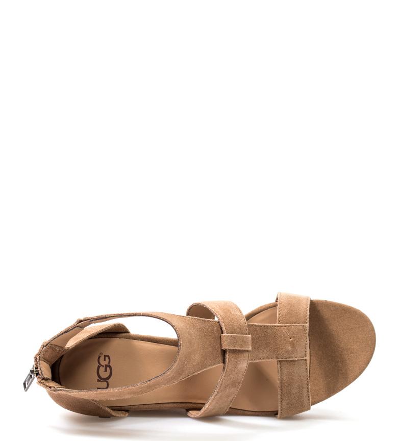 Australia cuña Whitney UGG Altura 10cm piel Sandalias de marrón 1xwpTZq