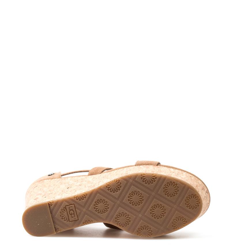 Australia de cuña Whitney UGG Altura piel 10cm Sandalias marrón waxqC
