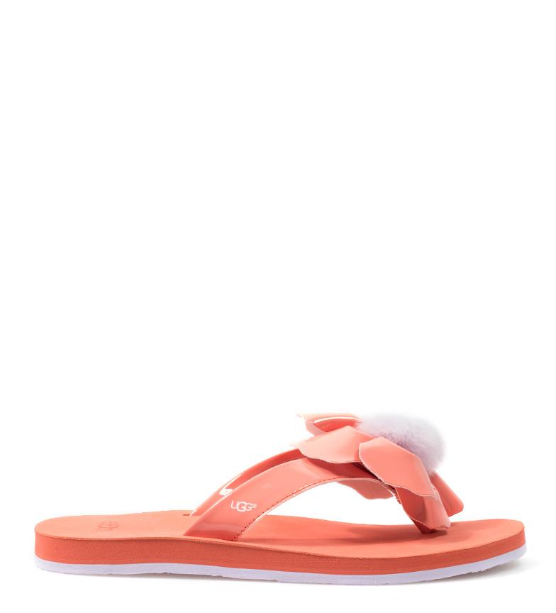 Comprar UGG Australia Flip-flop de piel Poppy coral