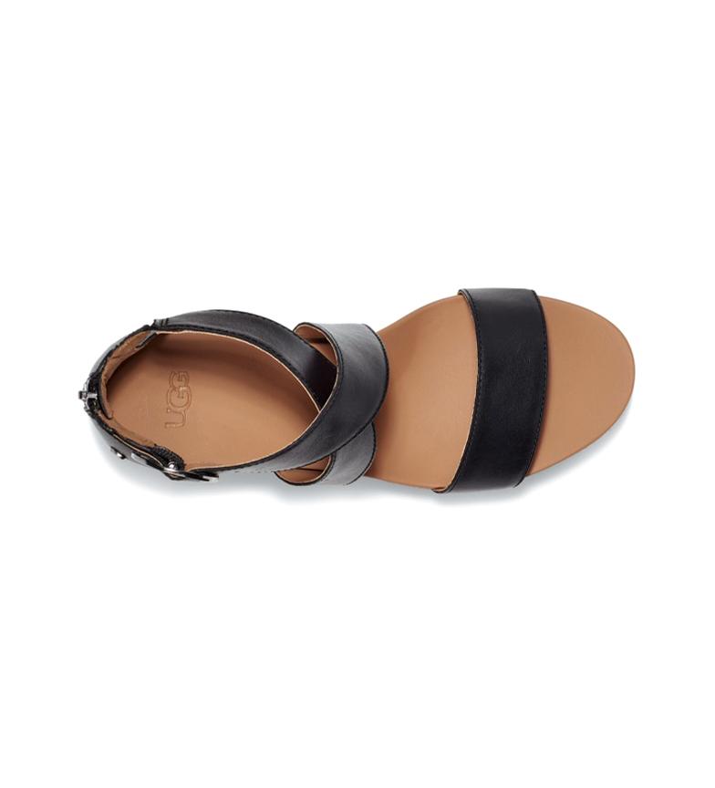 Comprar UGG Sandali Hylda in pelle nera - Altezza zeppa: 7,5 cm-